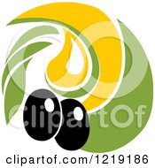 Clipart Of A Black Olive And Oil Design Royalty Free Vector Illustration