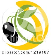 Clipart Of A Black Olive And Oil Design 2 Royalty Free Vector Illustration