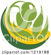 Clipart Of A Green Olive And Oil Design Royalty Free Vector Illustration