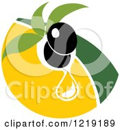 Clipart Of A Black Olive And Oil Design 3 Royalty Free Vector Illustration