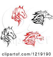 Clipart Of Black And White And Red Tribal Horses 2 Royalty Free Vector Illustration