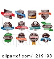 Clipart Of Retail Quality Labels With Sample Text Royalty Free Vector Illustration