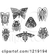 Clipart Of Black And White Tribal Insects Royalty Free Vector Illustration by Vector Tradition SM