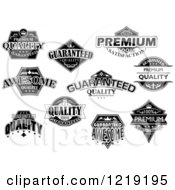 Black And White Retail Quality Labels With Sample Text