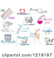 Clipart Of Medical Science And Dental Designs And Text Royalty Free Vector Illustration