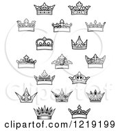 Clipart Of Black And White Crowns Royalty Free Vector Illustration