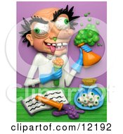 Clay Sculpture Clipart Mad Scientist With Eyeballs In A Jar Royalty Free 3d Illustration by Amy Vangsgard #COLLC12192-0022