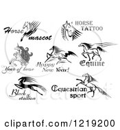 Clipart Of Horses And Unicorns With Text Royalty Free Vector Illustration by Vector Tradition SM