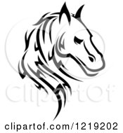 Clipart Of A Black And White Tribal Horse 6 Royalty Free Vector Illustration