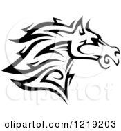 Clipart Of A Black And White Tribal Horse 5 Royalty Free Vector Illustration