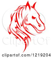 Clipart Of A Red Tribal Horse 5 Royalty Free Vector Illustration