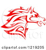 Clipart Of A Red Tribal Horse 6 Royalty Free Vector Illustration