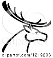 Clipart Of A Black And White Deer With Antlers 2 Royalty Free Vector Illustration by Vector Tradition SM