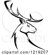 Clipart Of A Black And White Deer With Antlers Royalty Free Vector Illustration by Vector Tradition SM