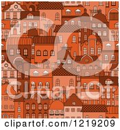Clipart Of A Seamless Pattern Of Orange City Residential Buildings Royalty Free Vector Illustration
