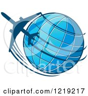 Clipart Of A Blue Globe And Airplane Circling Royalty Free Vector Illustration by Vector Tradition SM