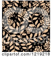 Clipart Of A Seamless Pattern Of Tan Roses On Black 2 Royalty Free Vector Illustration