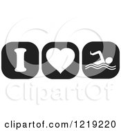 Clipart Of Black And White I Heart Swimming Icons Royalty Free Vector Illustration by Johnny Sajem
