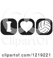 Clipart Of Black And White I Heart Volleyball Icons Royalty Free Vector Illustration by Johnny Sajem
