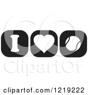Clipart Of Black And White I Heart Tennis Icons Royalty Free Vector Illustration by Johnny Sajem