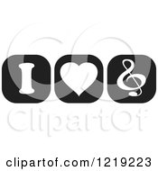 Clipart Of Black And White I Heart Music Icons Royalty Free Vector Illustration