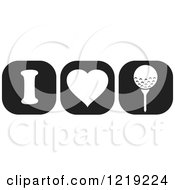 Clipart Of Black And White I Heart Golf Icons Royalty Free Vector Illustration by Johnny Sajem