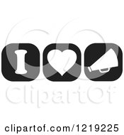 Clipart Of Black And White I Heart Cheerleading Icons Royalty Free Vector Illustration