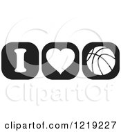 Clipart Of Black And White I Heart Basketball Icons Royalty Free Vector Illustration by Johnny Sajem