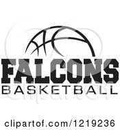 Clipart Of A Black And White Ball With FALCONS BASKETBALL Text Royalty Free Vector Illustration