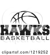 Clipart Of A Black And White Ball With HAWKS BASKETBALL Text Royalty Free Vector Illustration