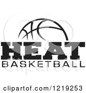Clipart Of A Black And White Ball With HEAT BASKETBALL Text Royalty Free Vector Illustration