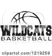 Clipart Of A Black And White Ball With WILDCATS BASKETBALL Text Royalty Free Vector Illustration