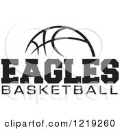 Clipart Of A Black And White Ball With EAGLES BASKETBALL Text Royalty Free Vector Illustration