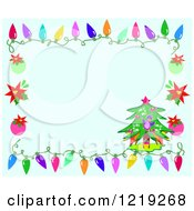 Blue Christmas Background Bordered With A Tree Ornaments And Lights