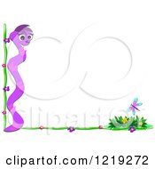 Clipart Of A Purple Snake And Floral Corner Border With A Butterfly Royalty Free Vector Illustration by bpearth