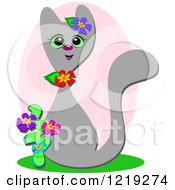 Happy Cat With Flowers Over A Pink Oval