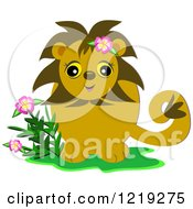 Happy Lion With Flowers