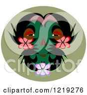 Clipart Of A Tribal Mask With Flowers On A Green Oval Royalty Free Vector Illustration by bpearth