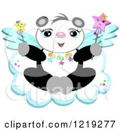 Cute Winged Panda With Star Wands On A Cloud