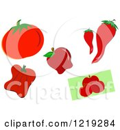 Clipart Of Red Fruits And Vegetables Royalty Free Vector Illustration by bpearth