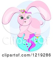 Clipart Of A Happy Pink Rabbit On An Easter Egg Royalty Free Vector Illustration by bpearth