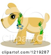 Clipart of a Dog Wearing Tropical Vines and a Flower - Royalty Free Vector Illustration by bpearth