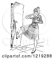 Retro Clipart Of A Vintage Black And White High School Teenage Girl With Her Arms Full Of Books Kicking A Full Locker Shut Royalty Free Vector Illustration by Picsburg