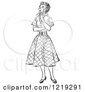 Retro Clipart Of A Black And White Vintage Teenage Girl Thinking Royalty Free Vector Illustration