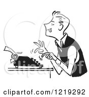 Retro Clipart Of A Black And White Vintage Man Using A Typewriter Royalty Free Vector Illustration