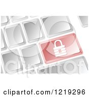 Clipart Of A Computer Keyboard With A Red Security Padlock Button Royalty Free Vector Illustration