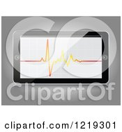Clipart Of A 3d Smartphone With A Cardiogram Royalty Free Vector Illustration