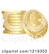 Single Gold Dollar Coin Leaning Up A Stack