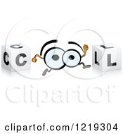 Clipart Of A 3d Cubes With Running Eyballs Forming The Word COOL Royalty Free Vector Illustration