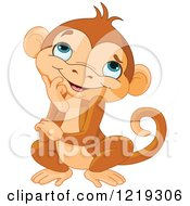 Clipart Of A Cute Thinking Monkey Royalty Free Vector Illustration by Pushkin